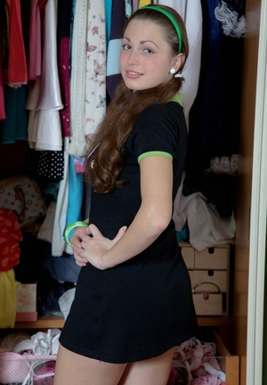 Good gal with green headband has huge weakness for shopping and rectal sex