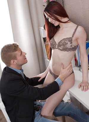 Winsome redhead Lovenia Lux with ease tempts BF into rectal lovemaking
