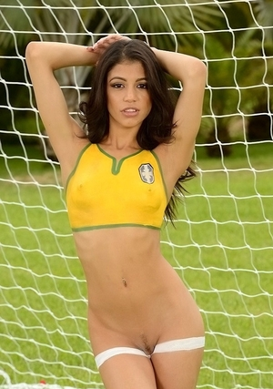 Tiny Latina 18-19 y.o. combines two things she likes most: soccer and moreover naked posing