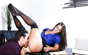 Astounding office woman enjoys fucking on the table during the coffee break