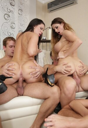 Three swinger couples eagerly share their smoking hot women organizing real hardcore orgy