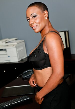 Short-haired Ebony Mom i`d like to fuck strips to lingerie and additionally playfully pushes bra a tiny