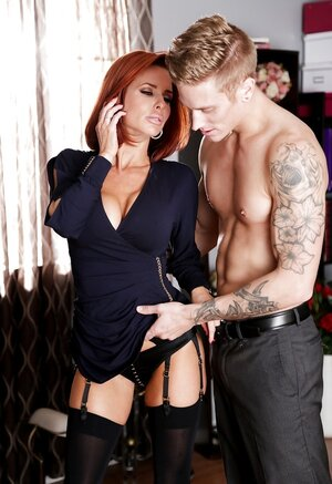Tall office worker and moreover red-haired boss with sizeable bra buddies make out in cabinet