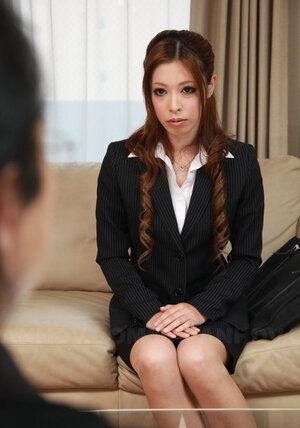 Submissive Japanese secretary gladly gets on knees in front of her boss