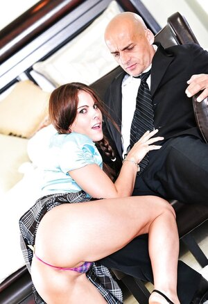 Glabrous gentleman with bliss bangs pigtailed college chick who is his lover