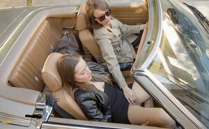 After fun in roadster lesby lovers return home to continue rendezvous