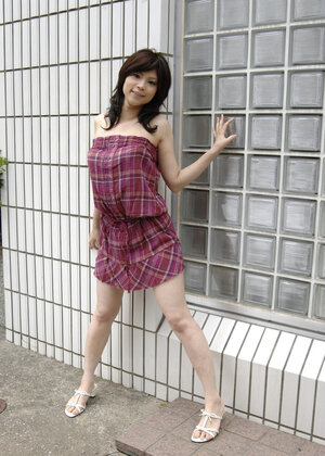 Japanese woman in checkered dress wears white panties that guys will see a lil bit