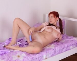 Dilettante dirty girl with bright red hair fucked in vagina from behind