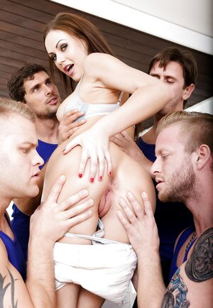 Four lads and hot group-fuck that's the stuff sexy brunette needs asap