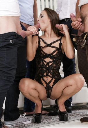Small-tittied chick makes guys abundantly finish all over her hot body